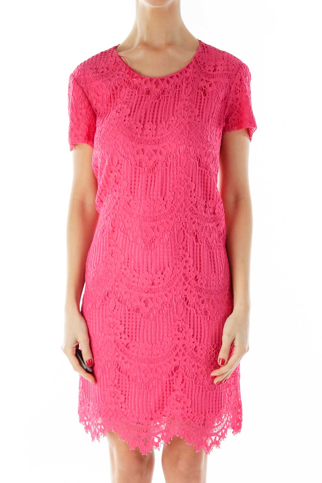 Pink Lace Short-Sleeve Day Dress Front
