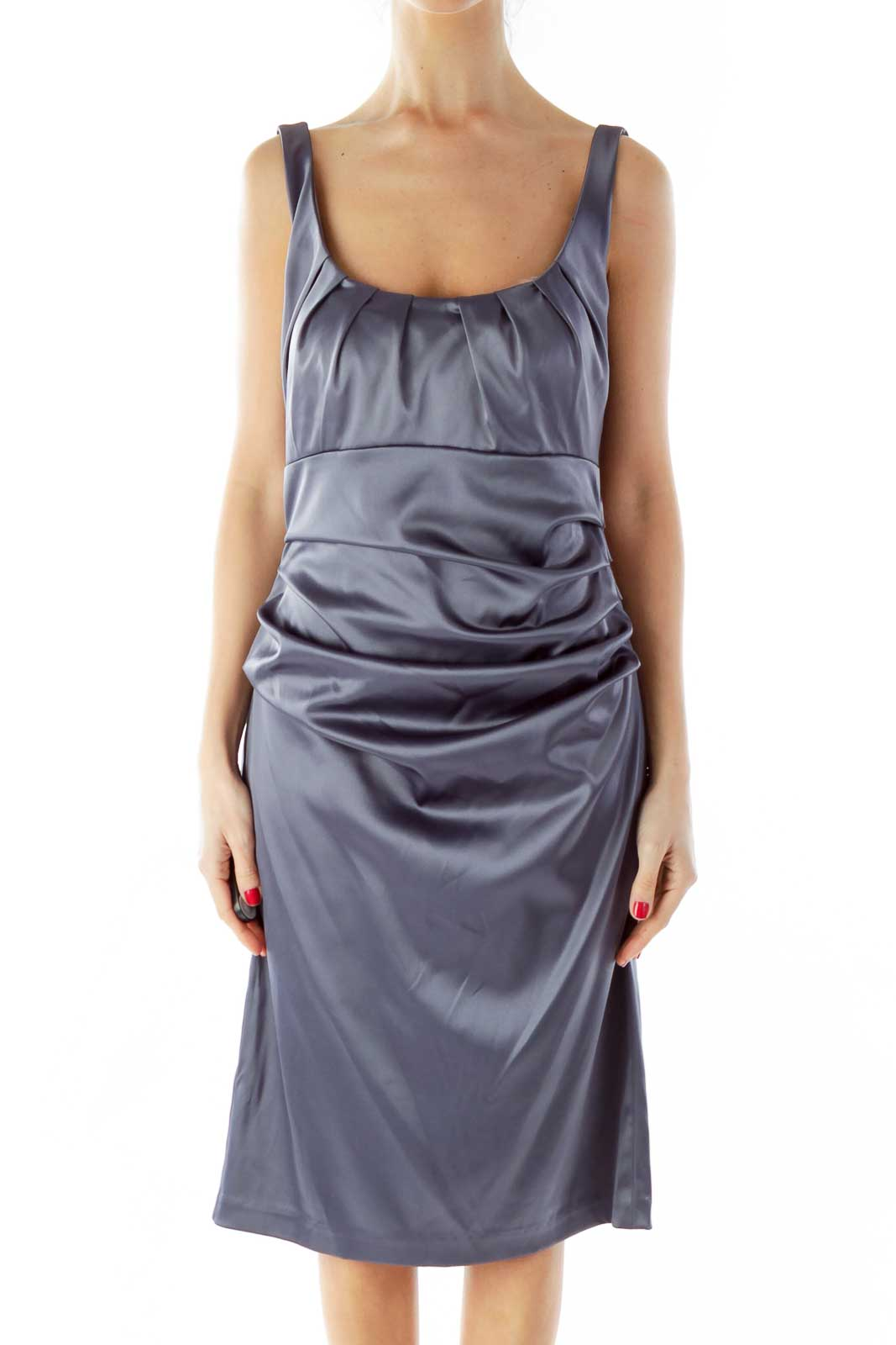 Gray Scrunched Cocktail Dress Front