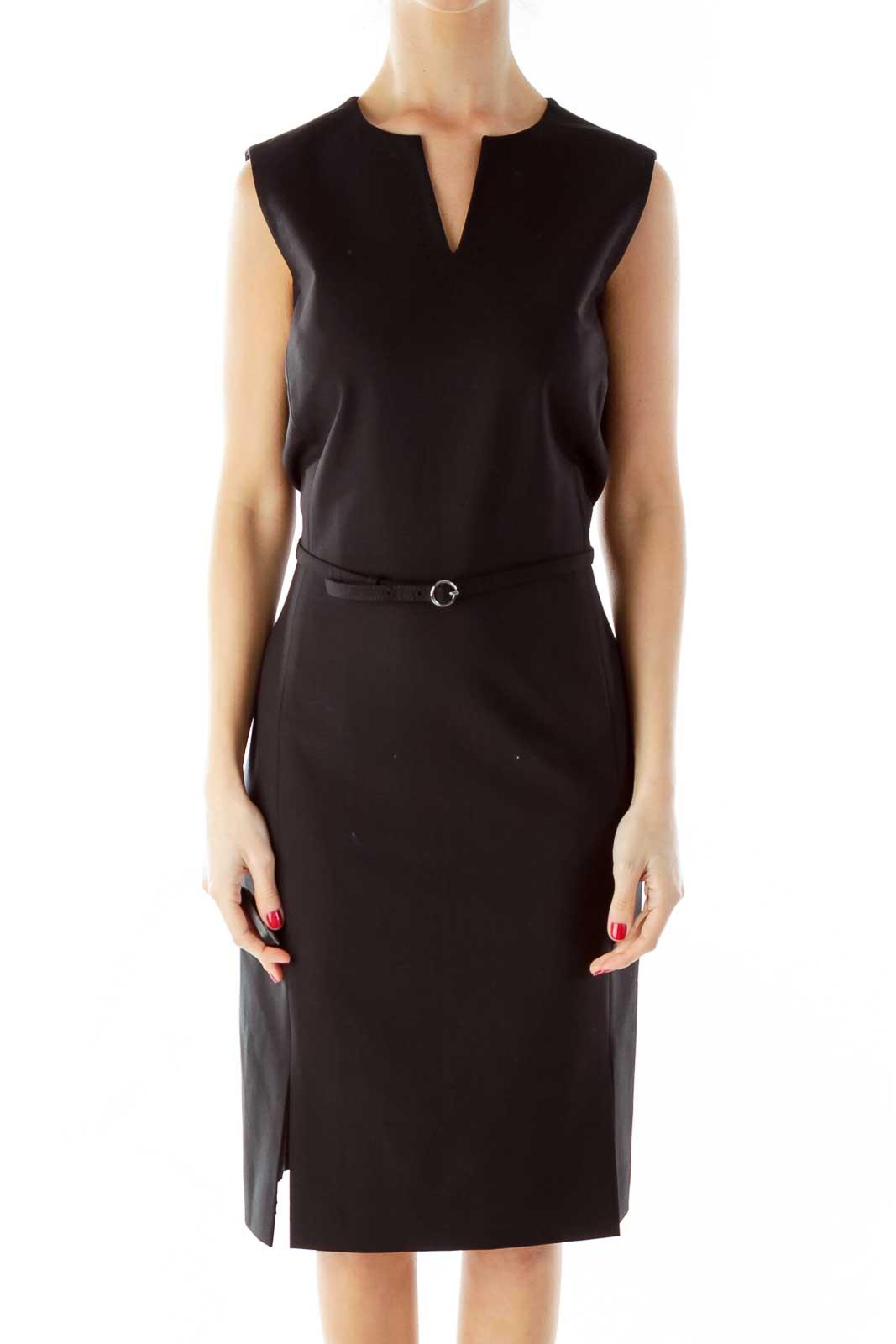 Black V-Neck Belted Work Dress Front
