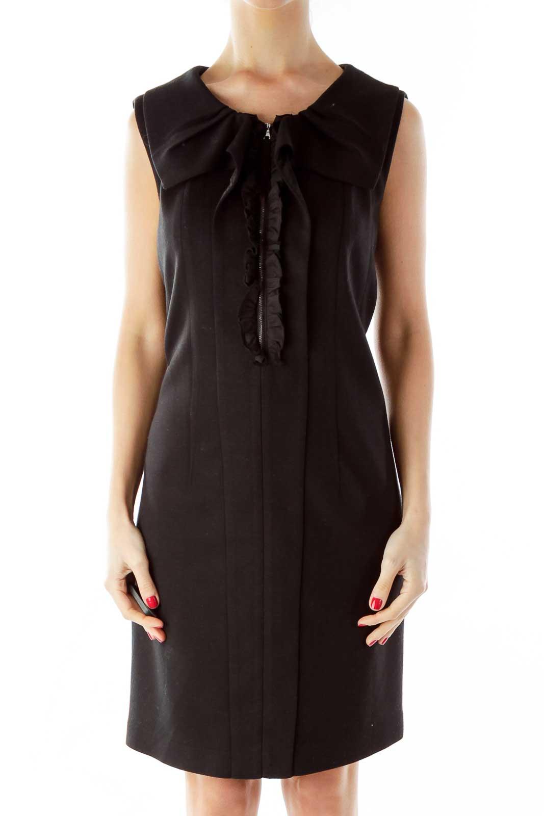 Black Ruffled Zippered Sleeveless Dress Front