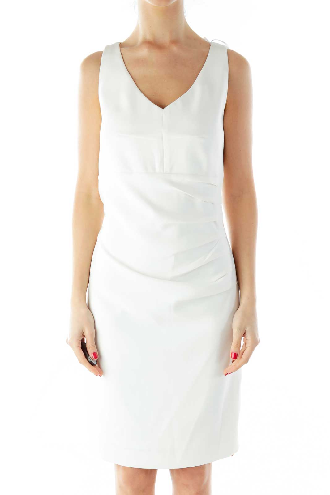 White Zippered Scrunched Dress Front