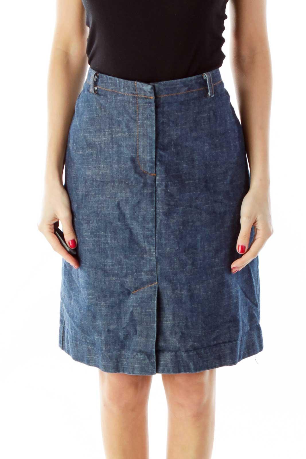 Blue A-Line Denim Skirt Front