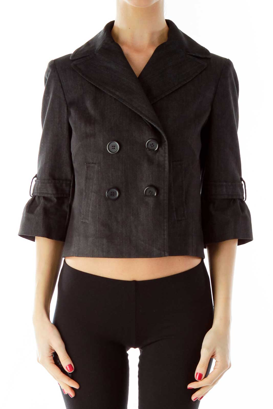 Black Denim Double-Breasted Cropped Jacket Front