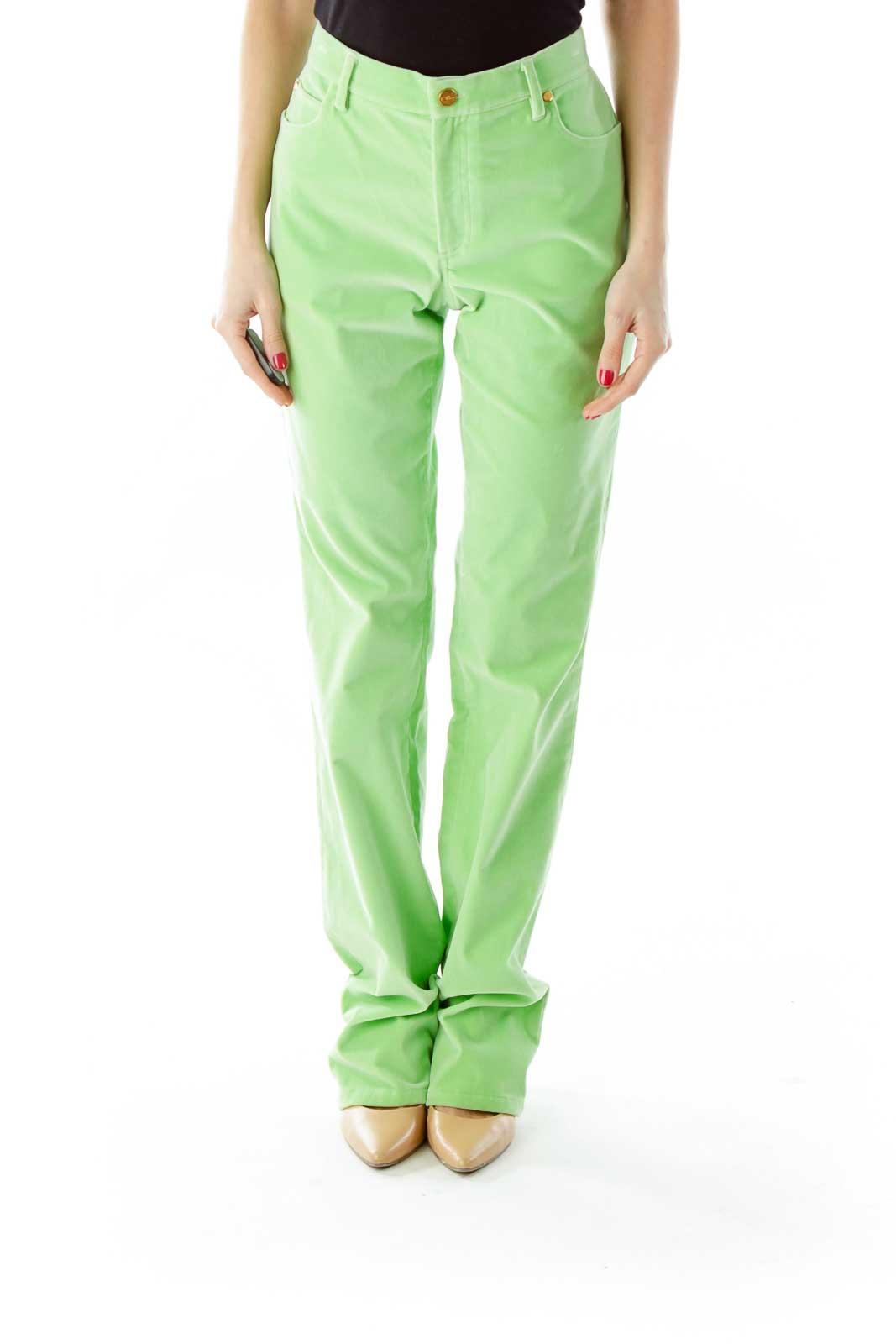Green Velvet Straight-Leg Pants Front