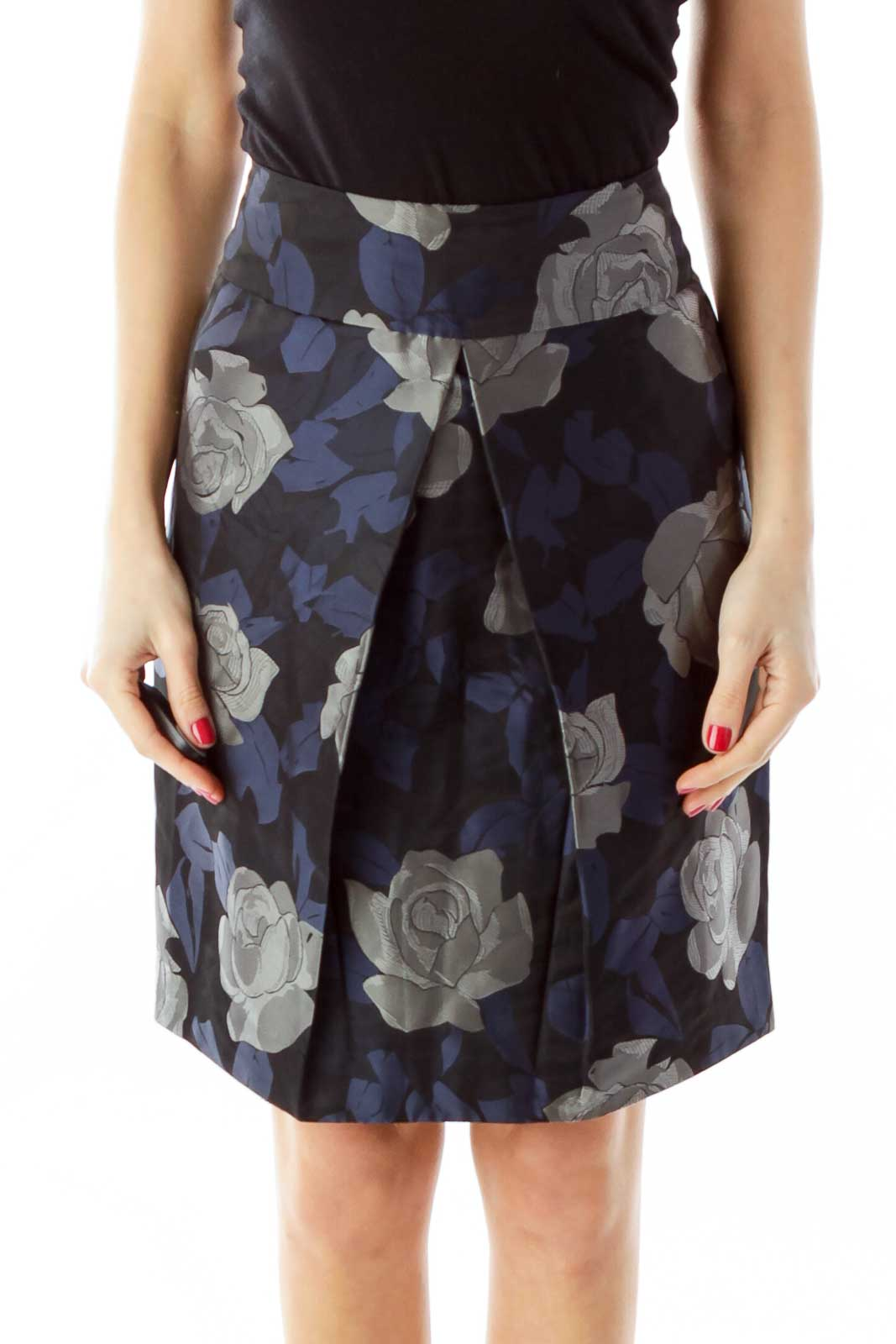 Navy Gray Black Pleated Pencil Skirt Front