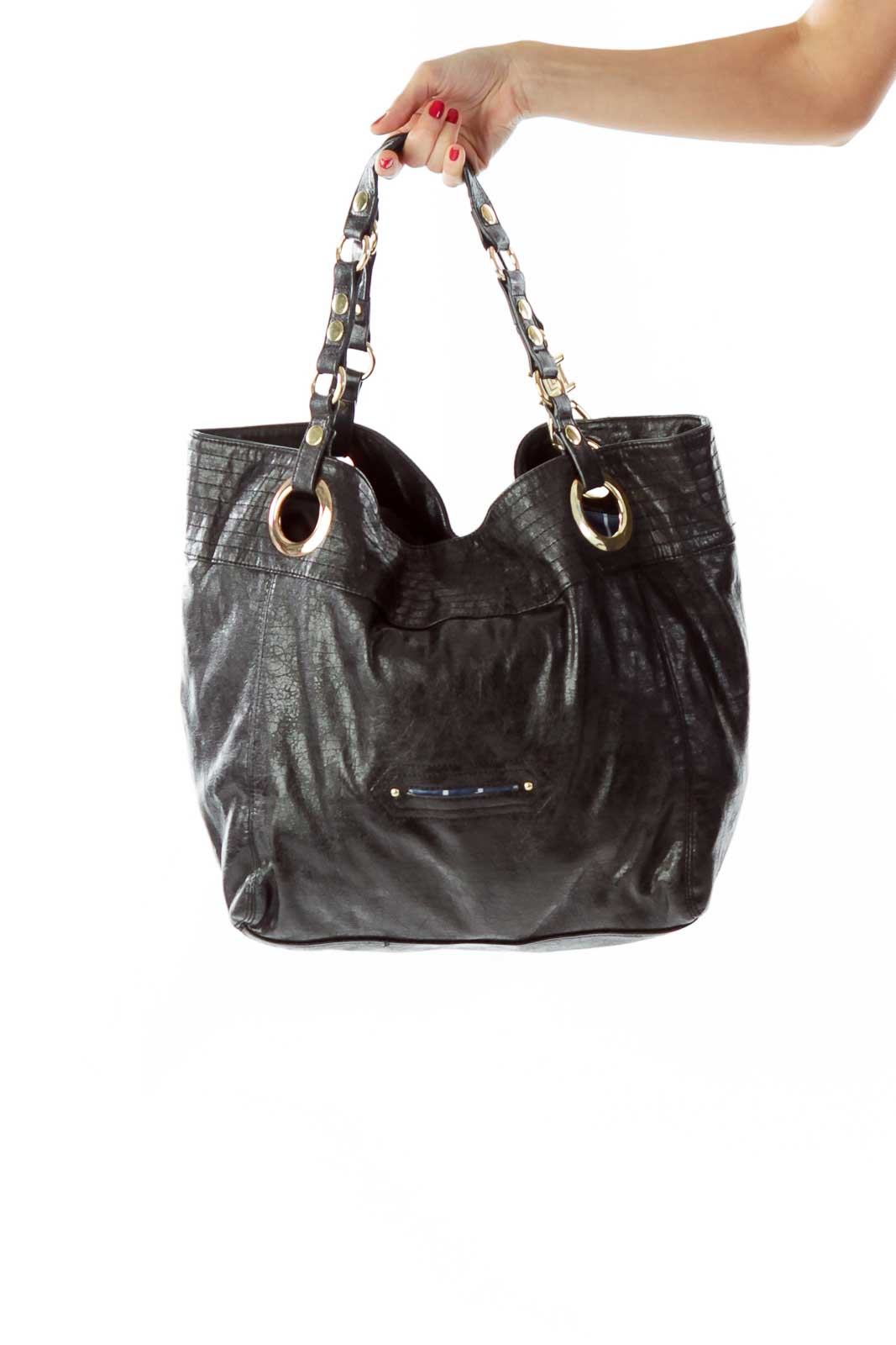 Black Gold Textured Tote Front