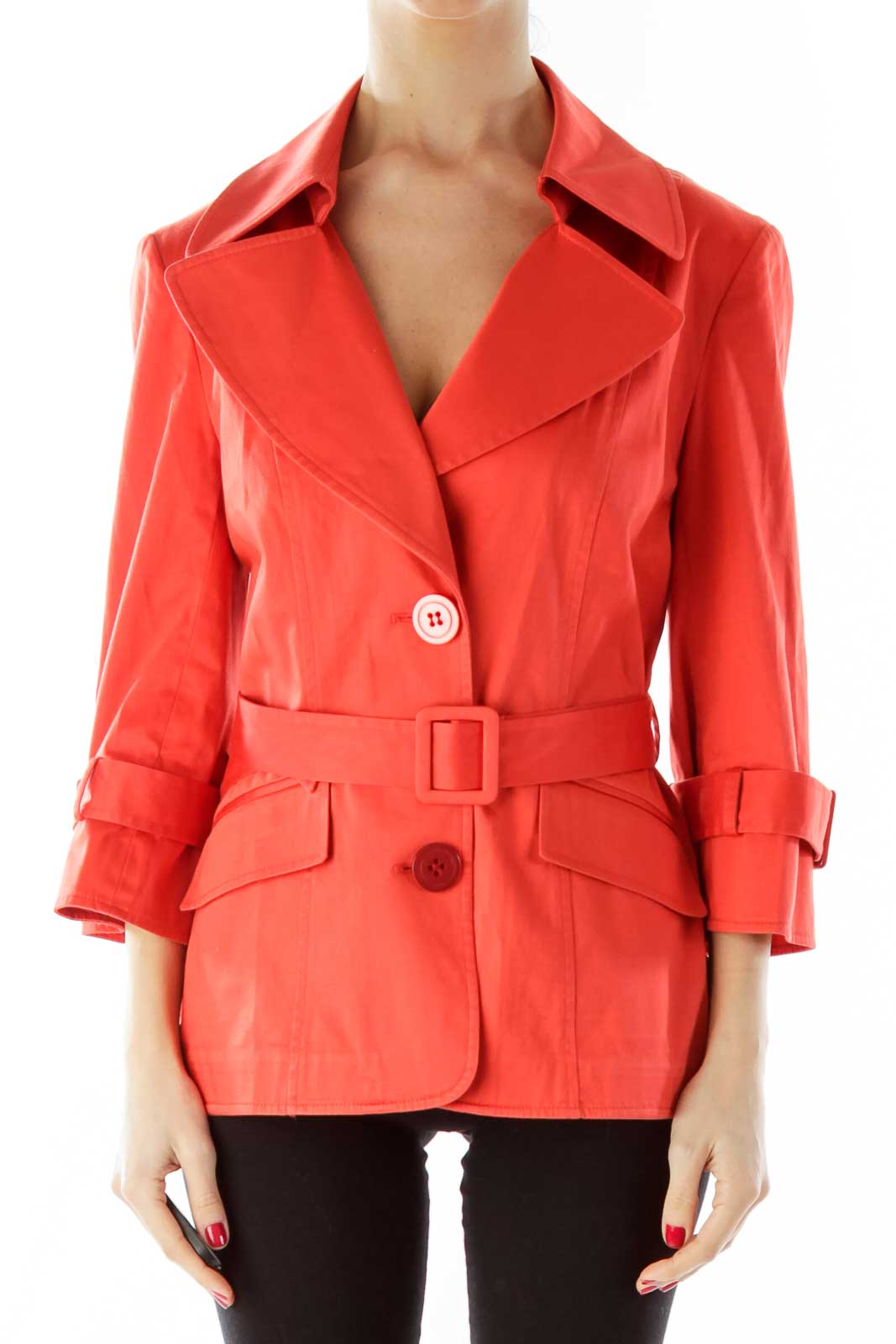 Orange Belted Buttoned Fitted Jacket Front