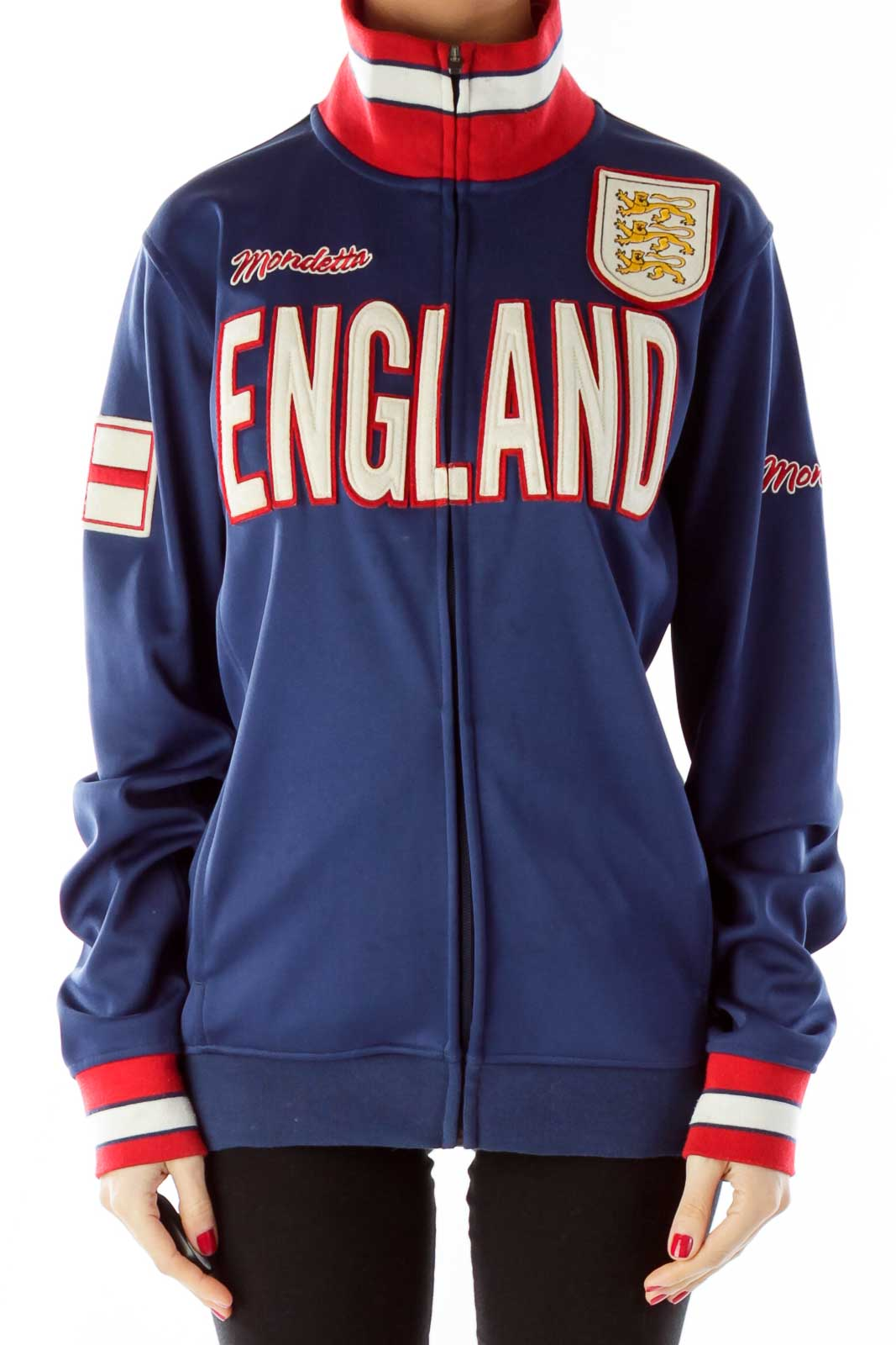 Blue Red England Jacket Front