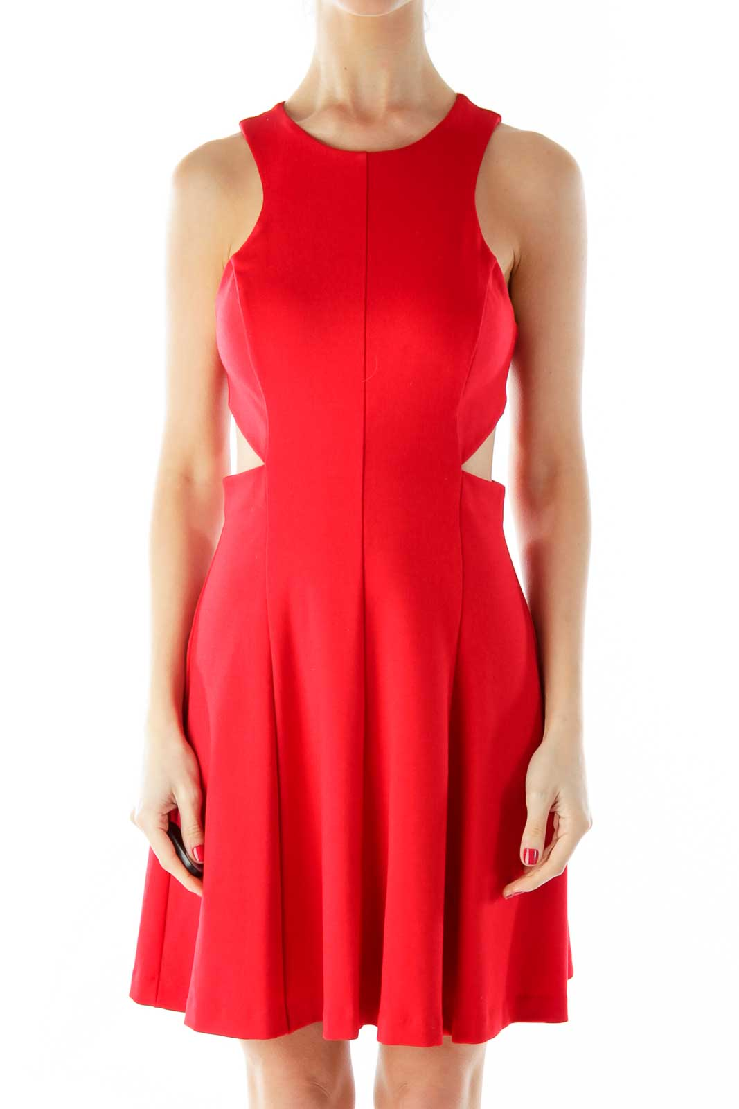 Red A-Line Cut-Out Dress Front