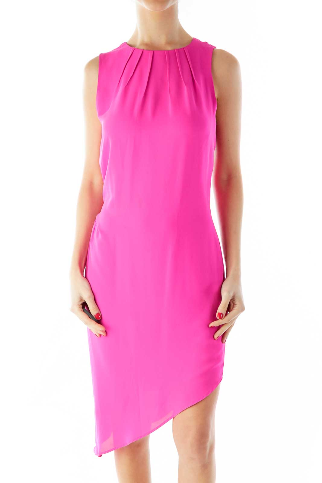 Pink Loose Pleated Round Neck Dress Front