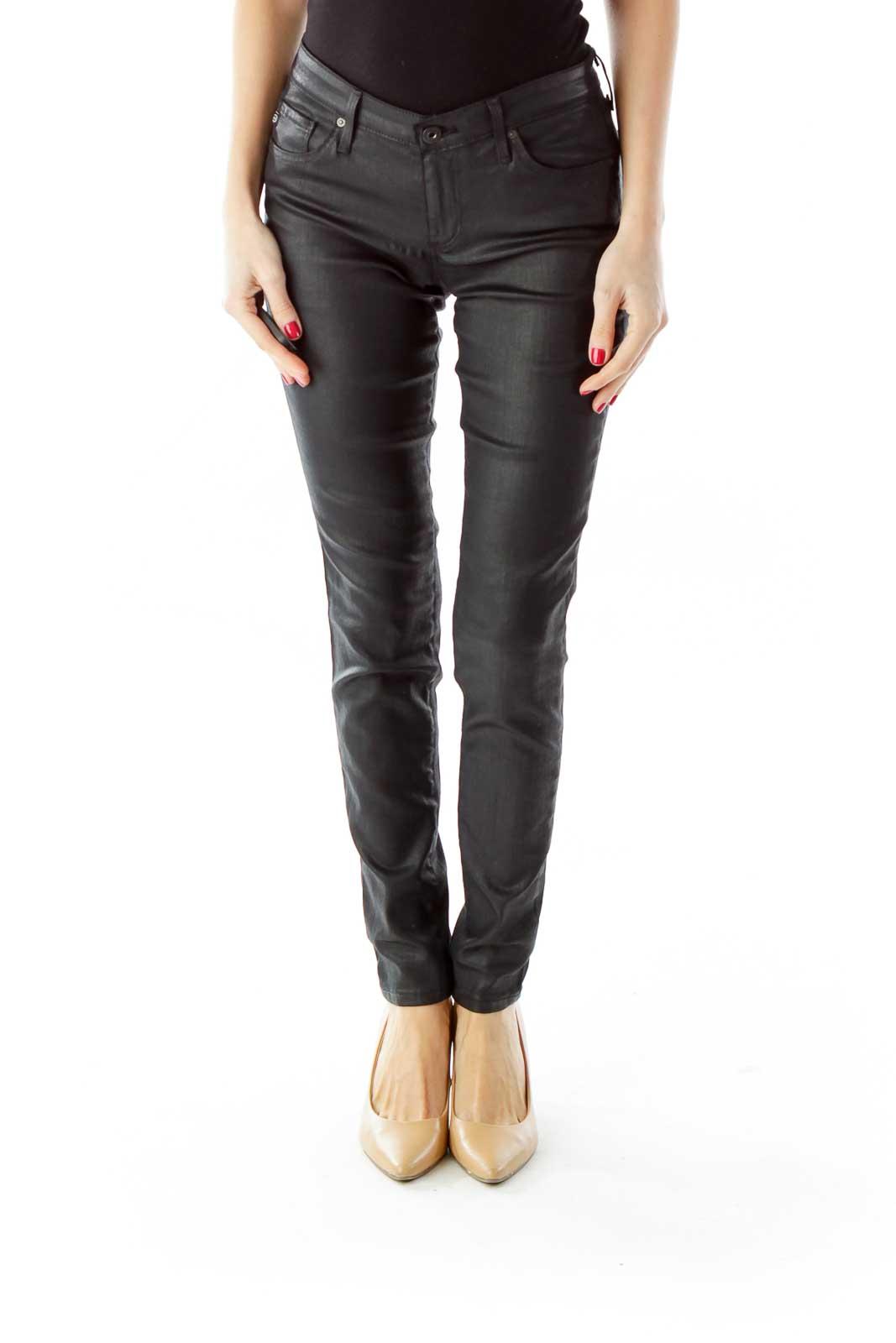 Black Shimmer Skinny Pants Front