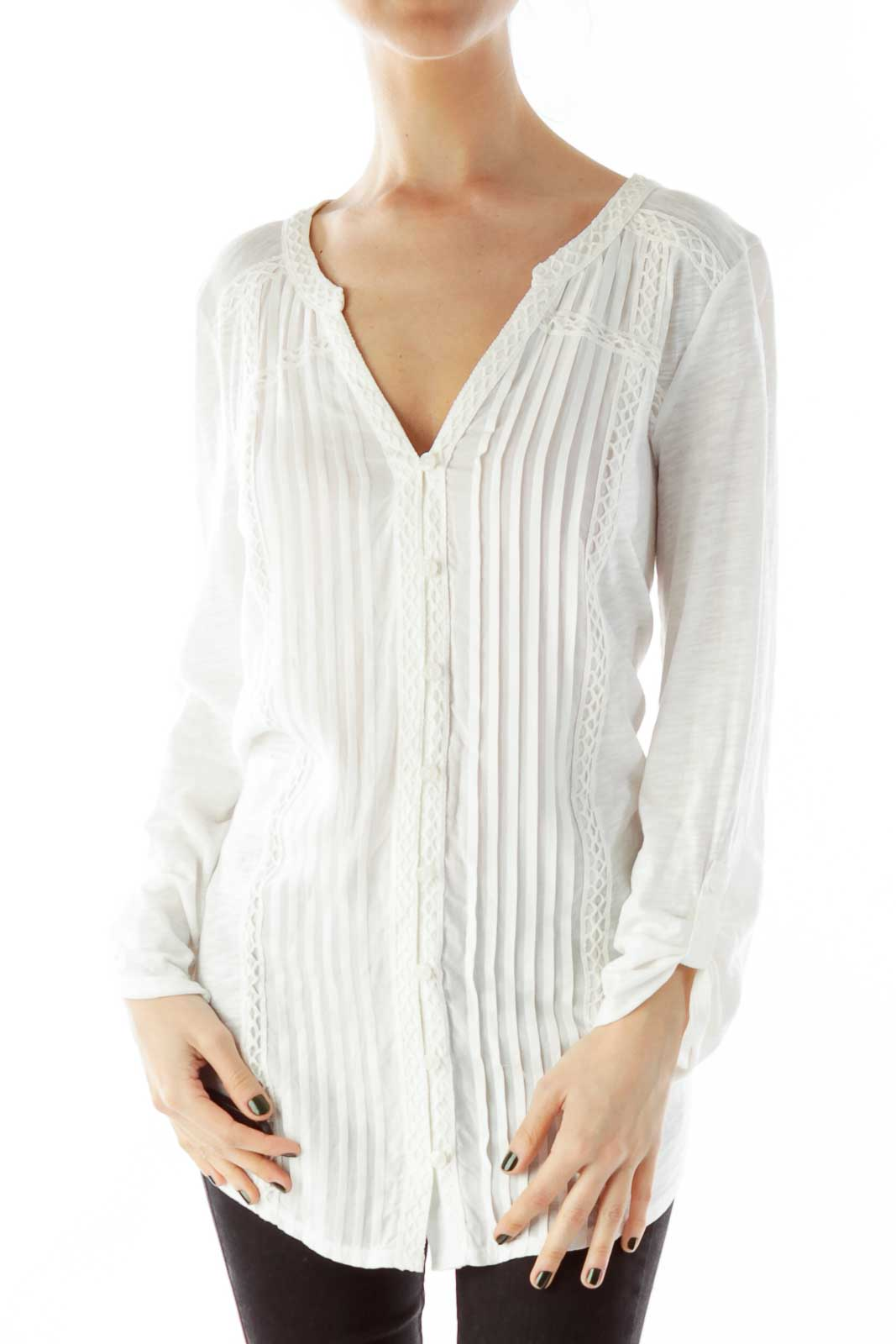 Pleated Buttoned Embroidered Tunic Front