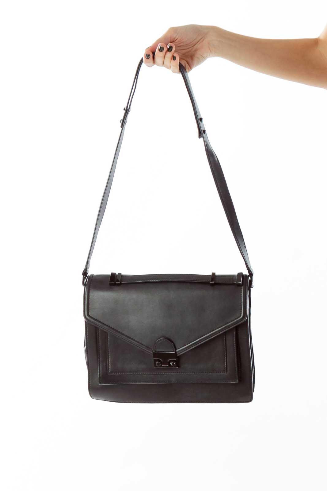 Black Belted Leather Messenger Bag Front