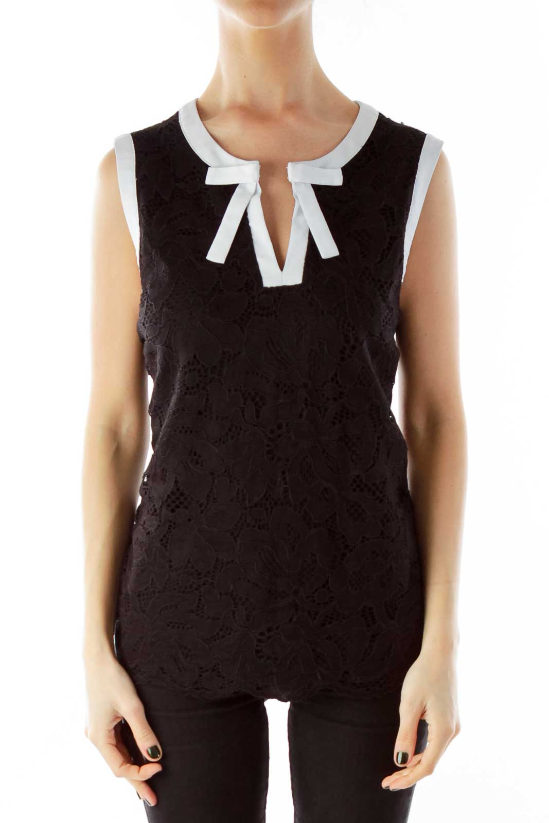 Black and White Lace Cut-Out Bow Tank Top Front
