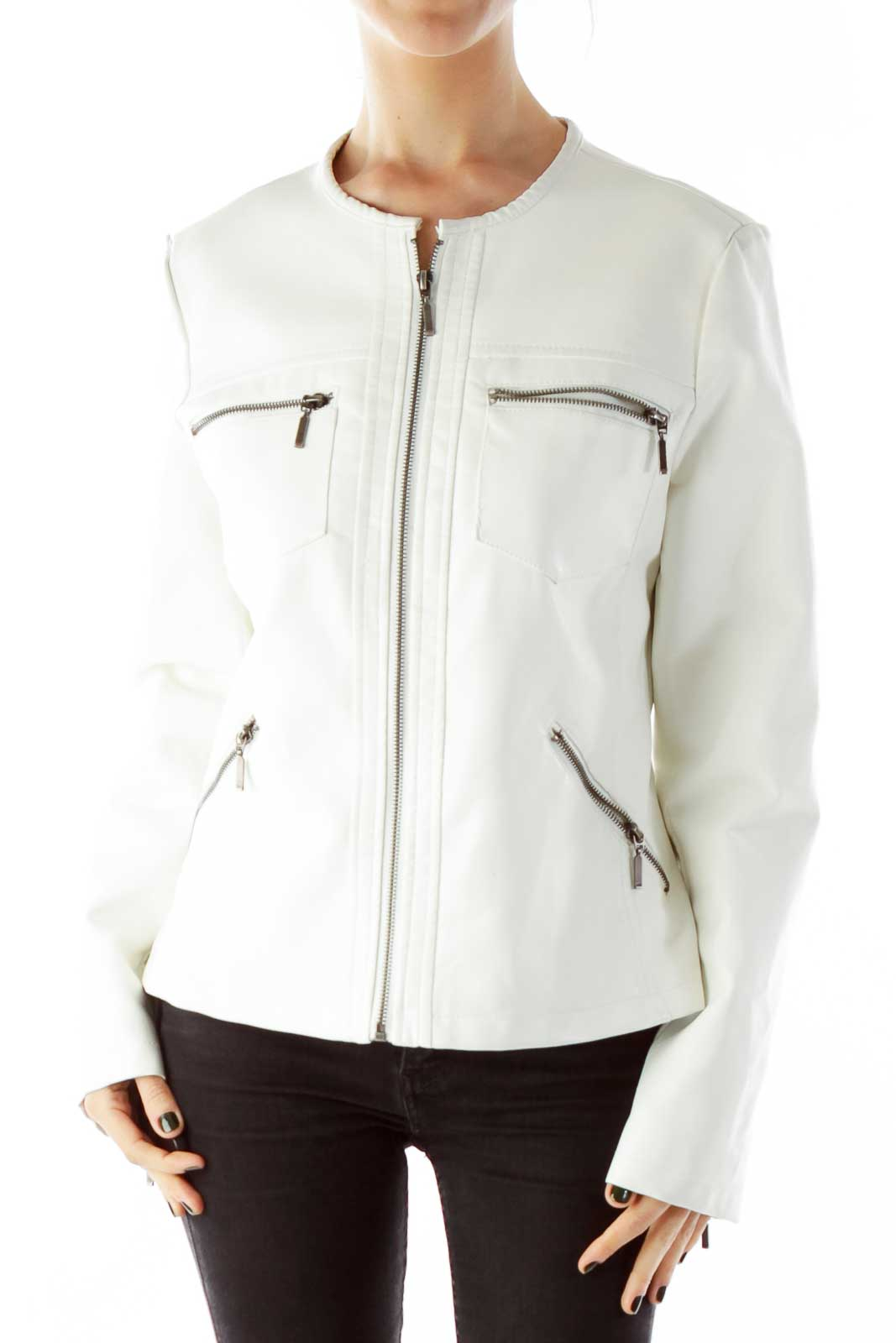 White Zippered Pocketed Faux-Leather Jacket Front