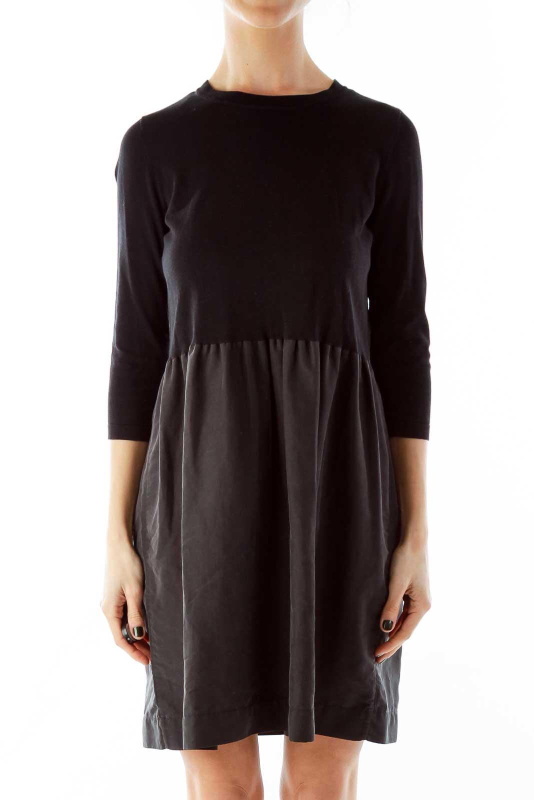 Black Knit A-Line Day Dress Front