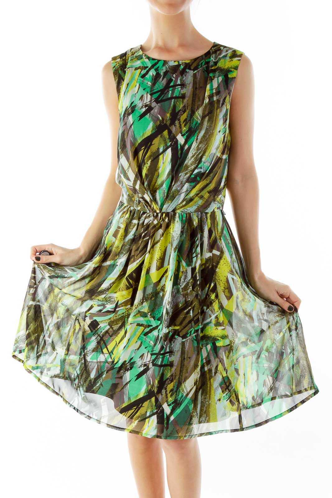 Multicolor Scrunched A-Line Dress Front
