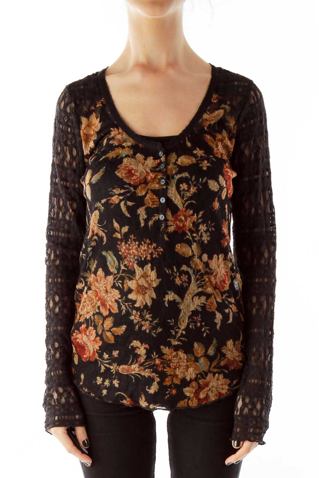 Black Multicolor Lace See-Through Flower Blouse Front