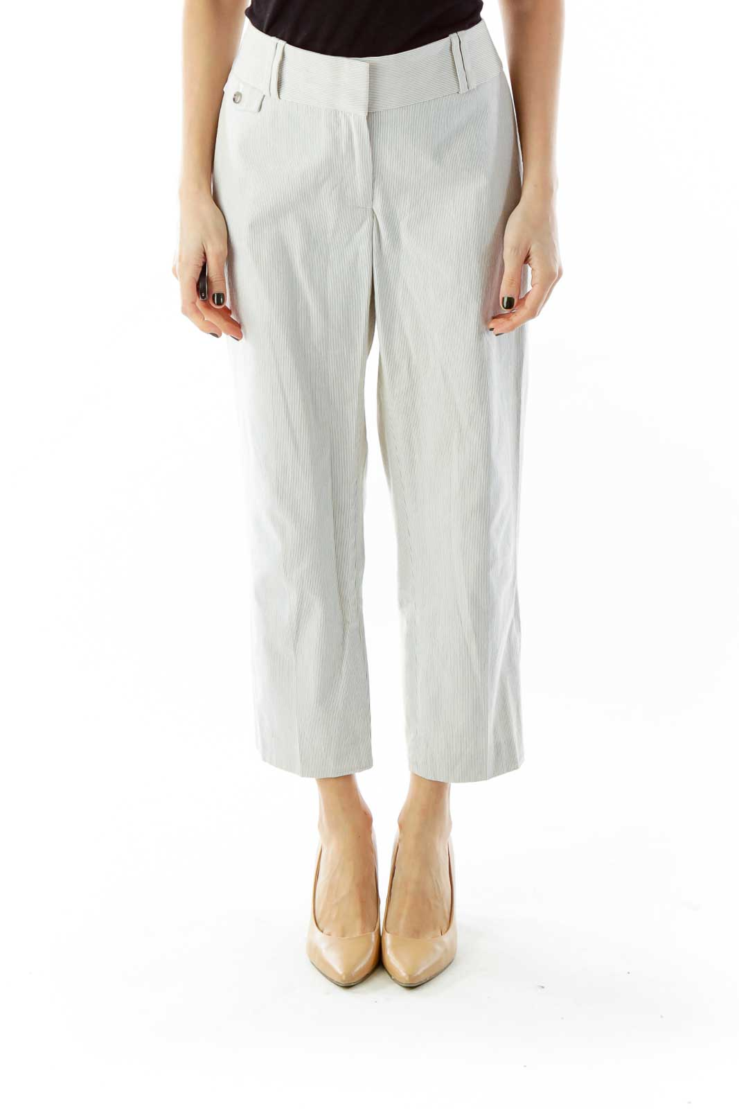 White Blue Stripped Cropped Pants Front