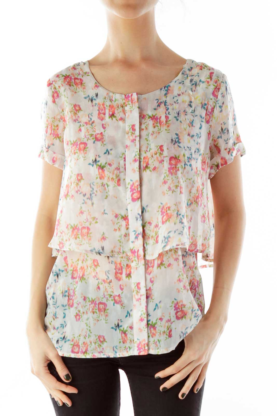 Multicolor Flower Print Loose Blouse Front