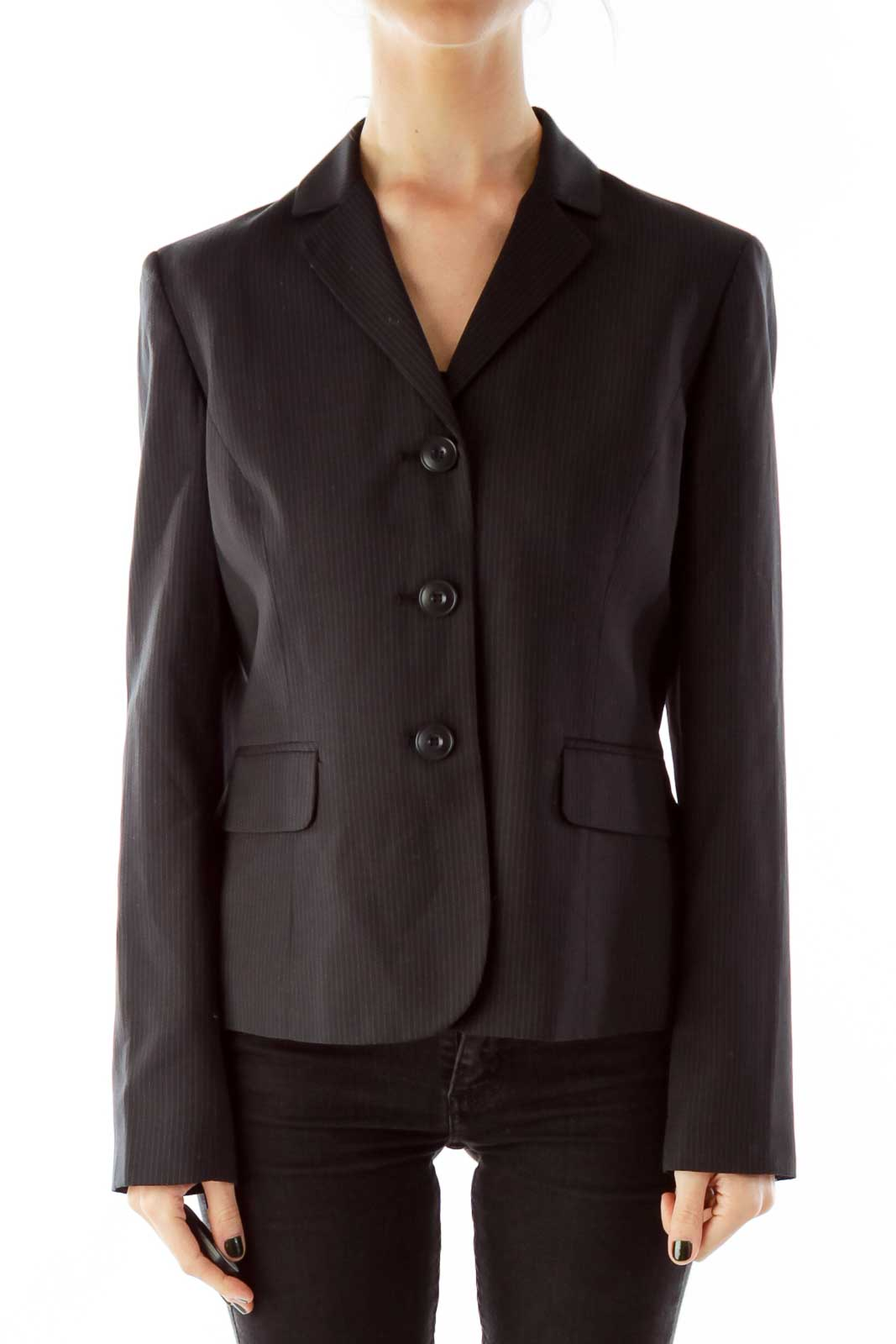 Black Stripped Single-Breasted Blazer Front