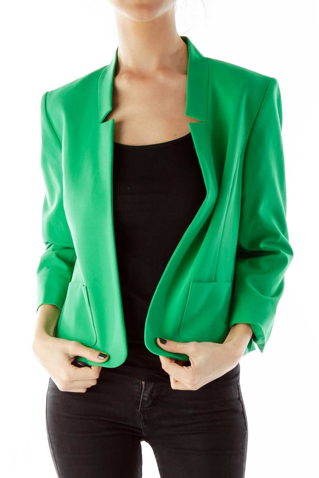 Green Open-Front Three Quarter Sleeve Jacket Front