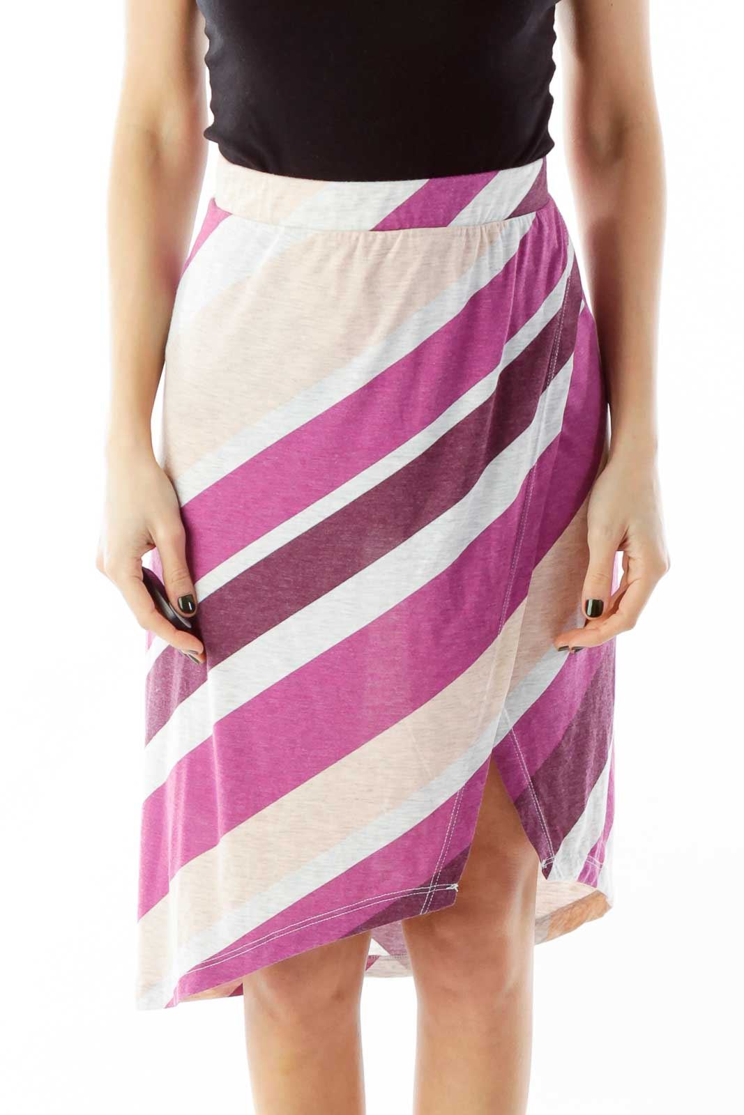 Purple Gray Peach Stripped Slitted Skirt Front