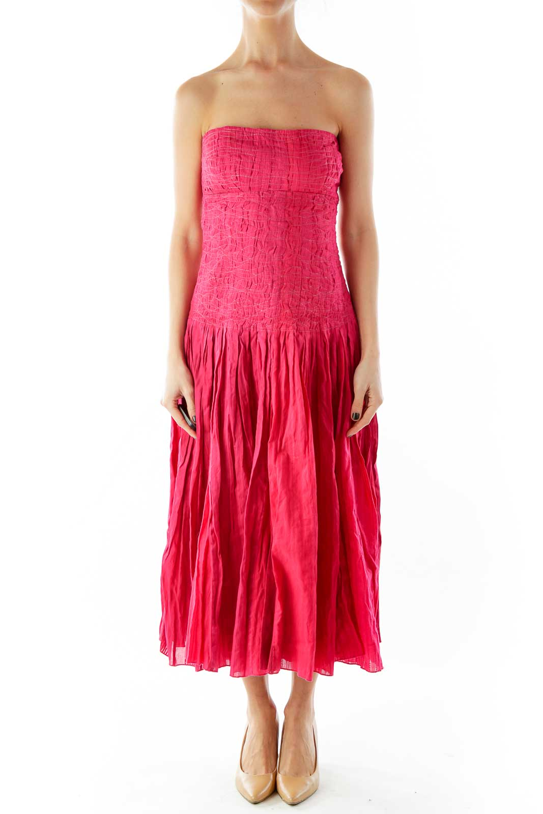 Red Strapless Textured Cocktail Dress Front