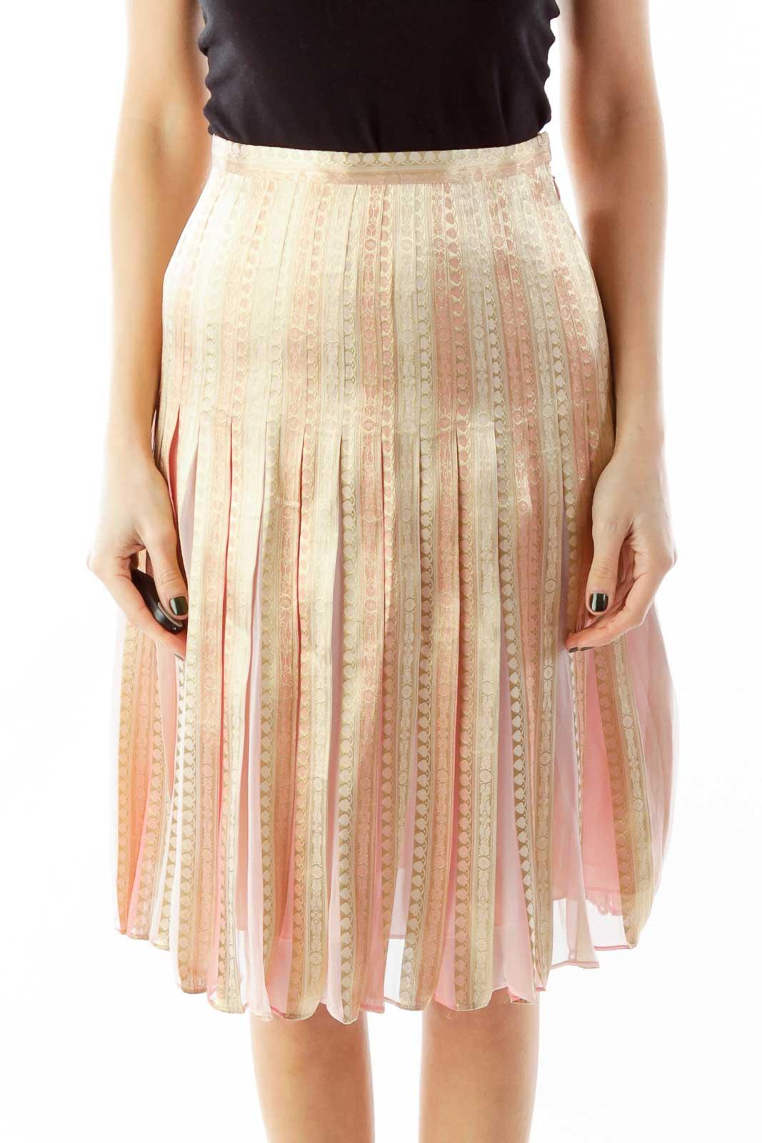 Pink Gold Shimmer Flared Skirt Front