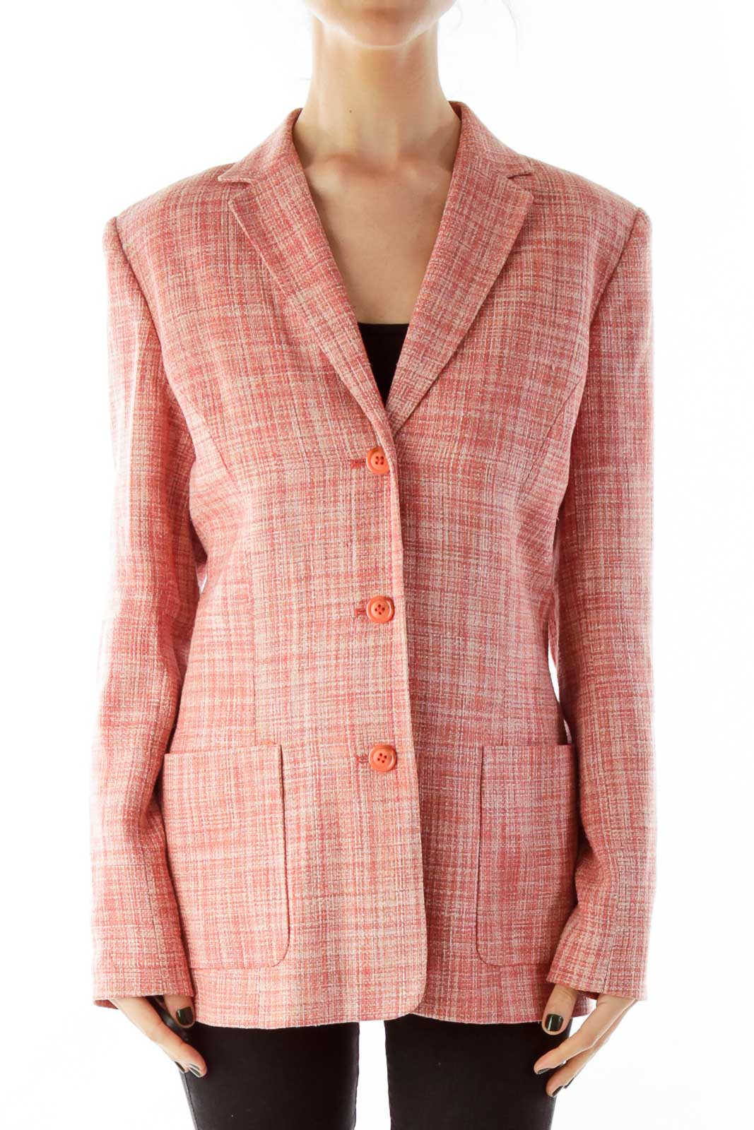 Pink Tweed Blazer Front
