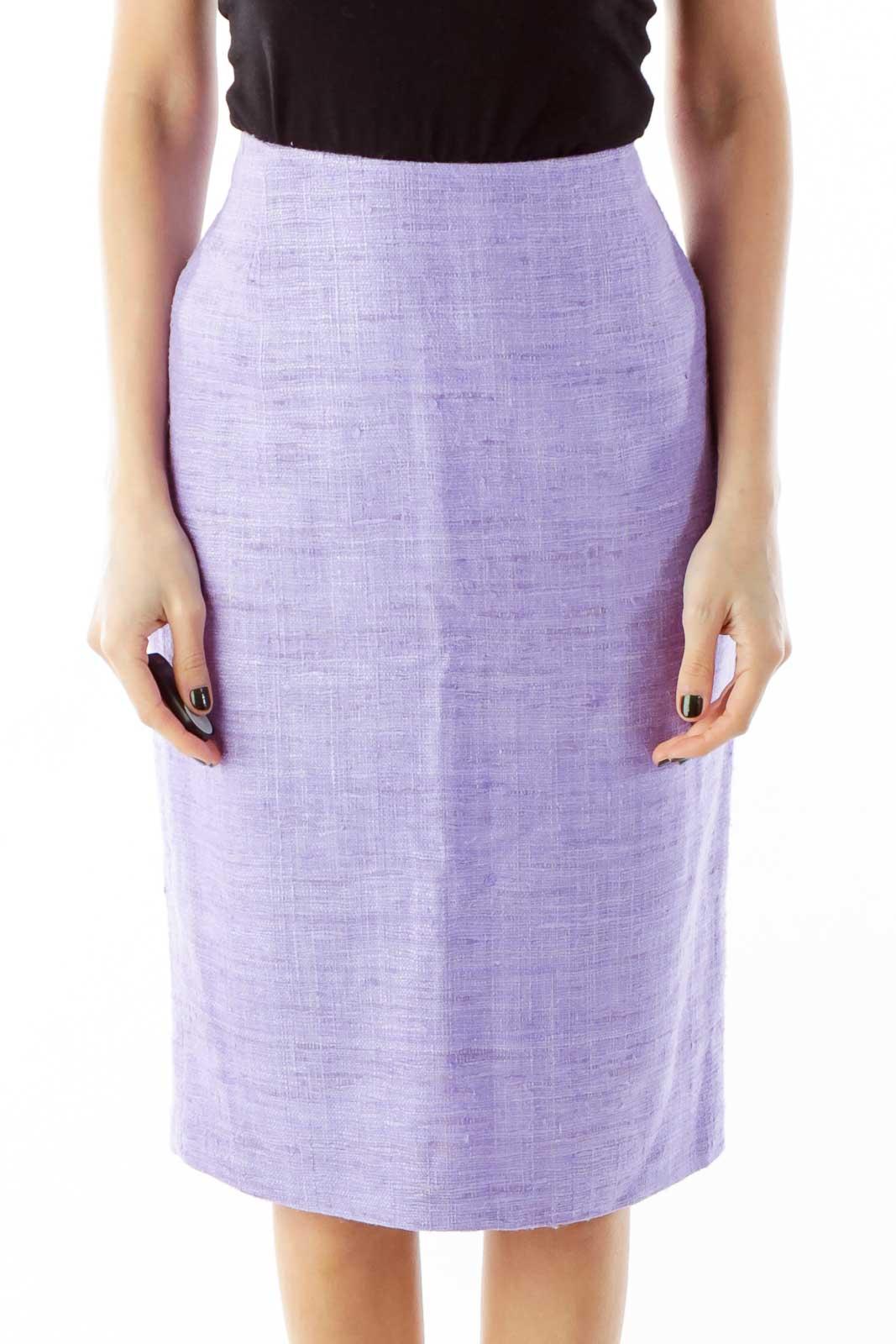 Purple Mottled Pencil Skirt Front