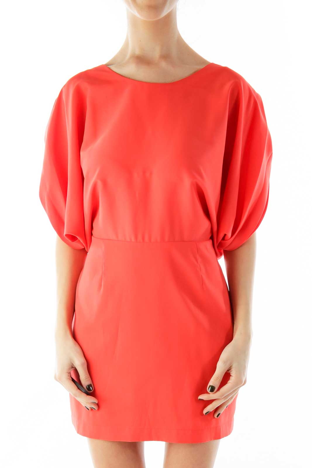Orange Bat-Sleeve Day Dress Front