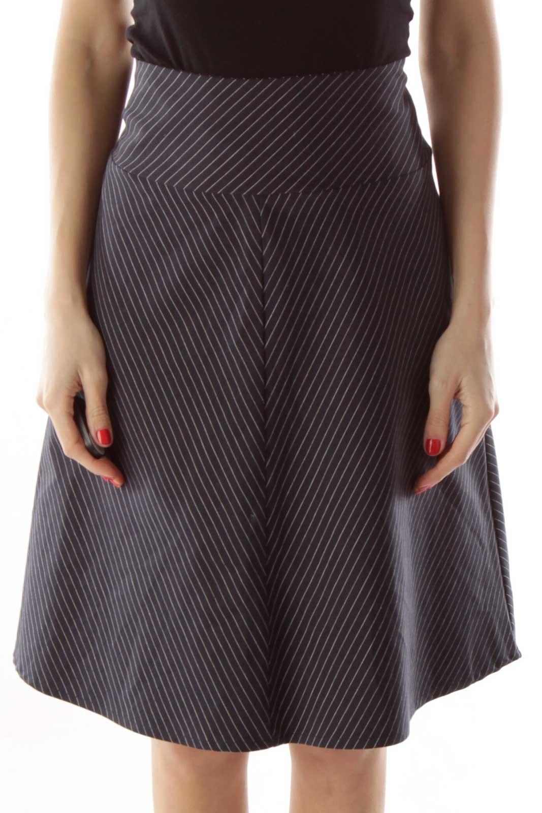 Black & White Pinstripe Skirt Front
