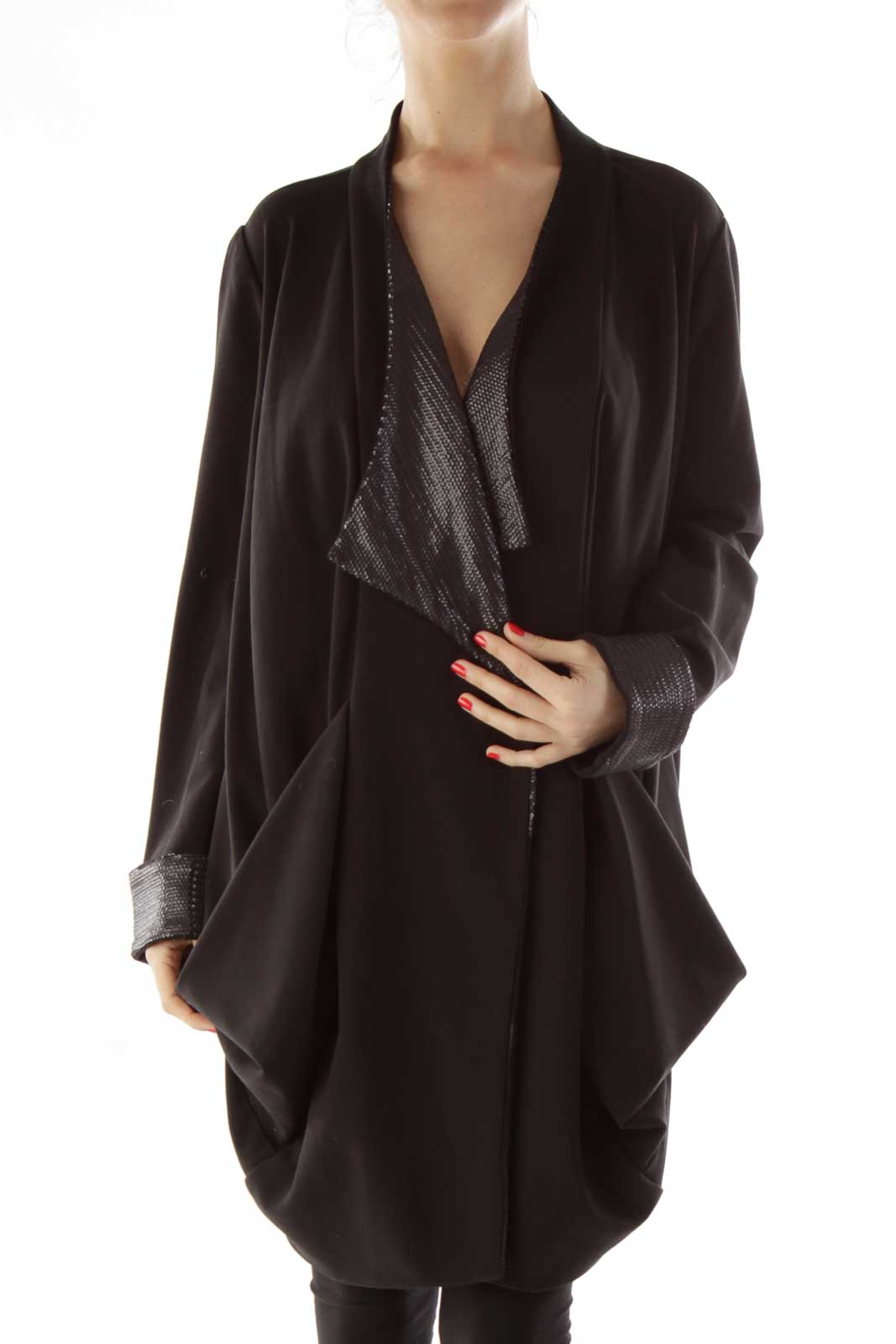 Black Sequined Oversized Blazer Front