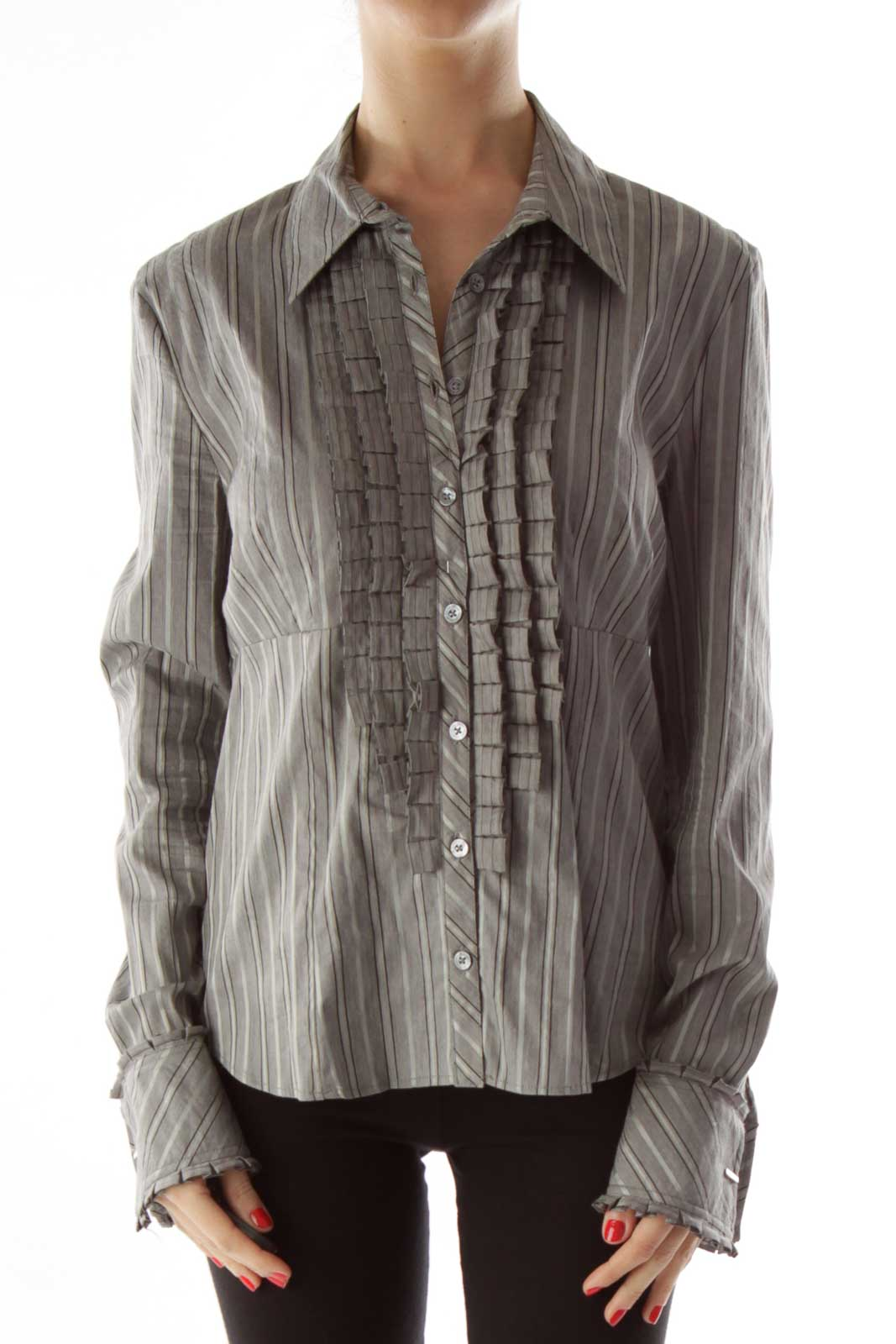 Gray Pinstriped Ruffled Button Up Front