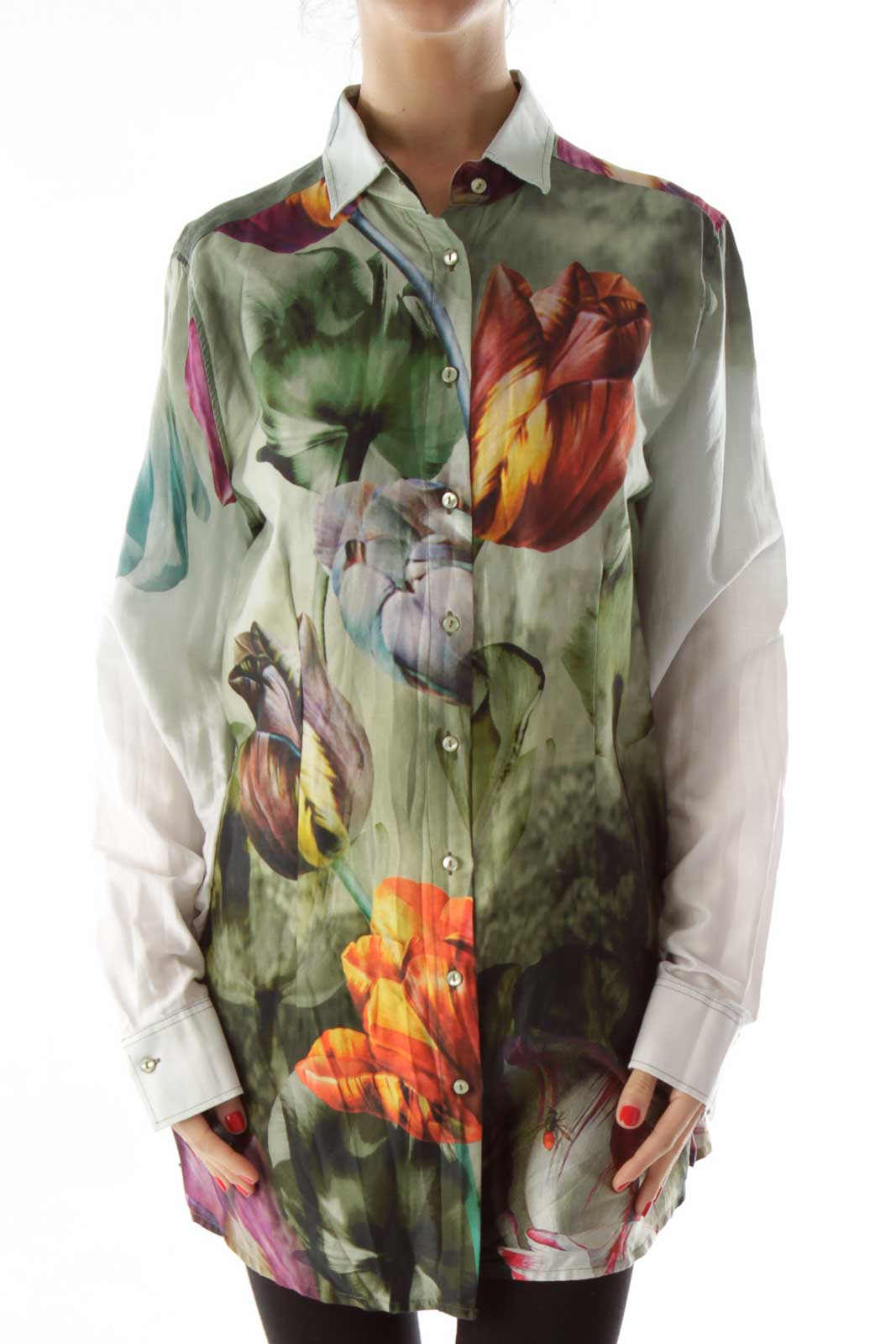 Green Multicolor Floral Button Up Front
