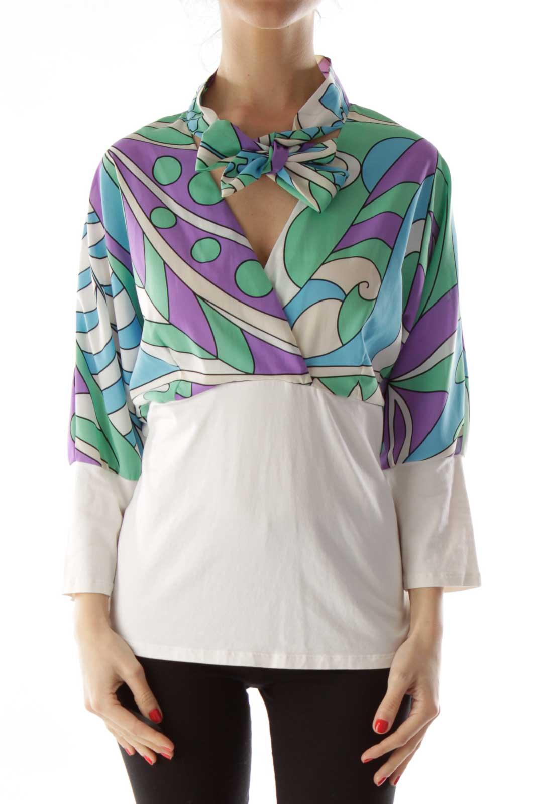 Multicolor Print Neck Tie Blouse Front