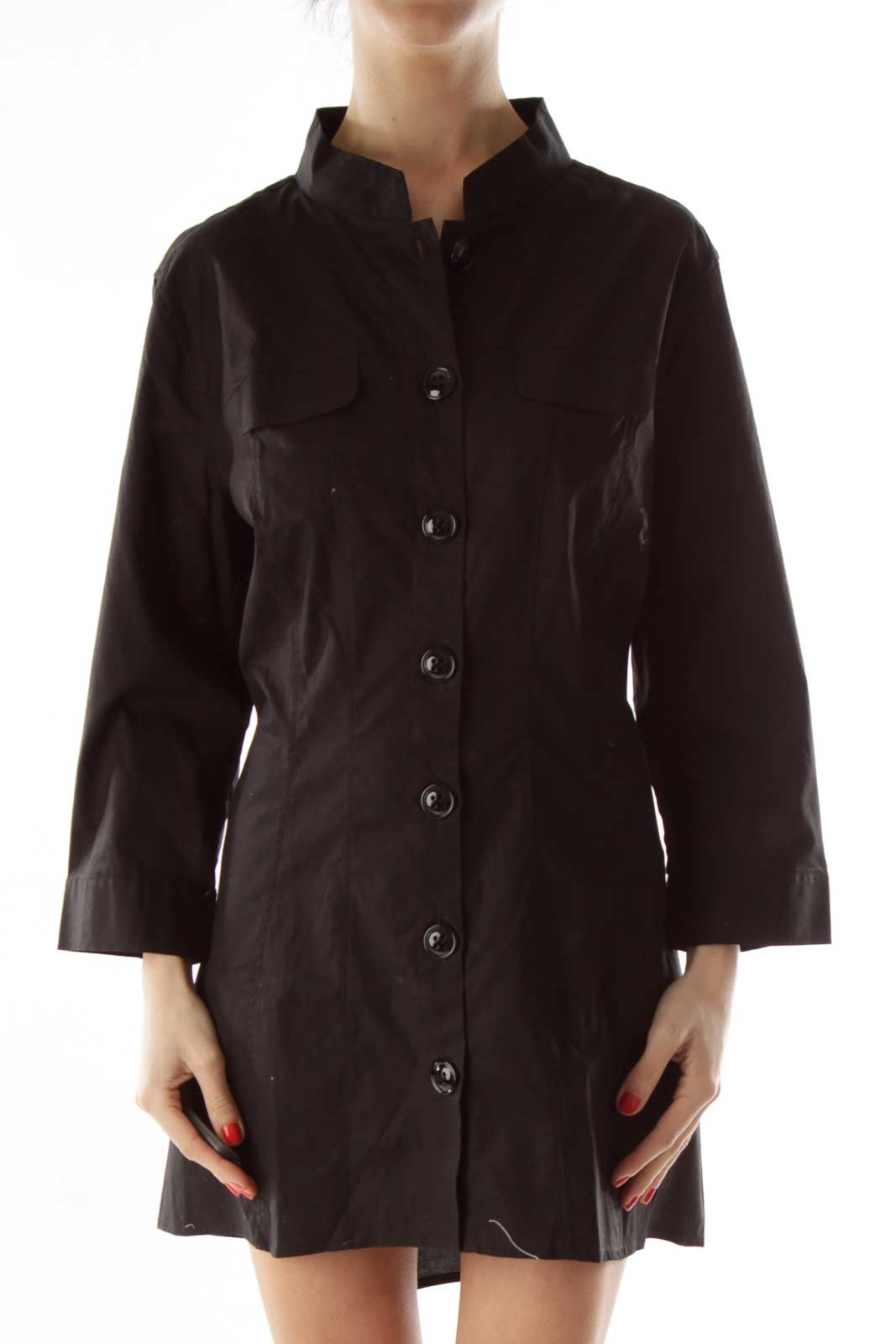 Black Buttoned Collared Shirt Front