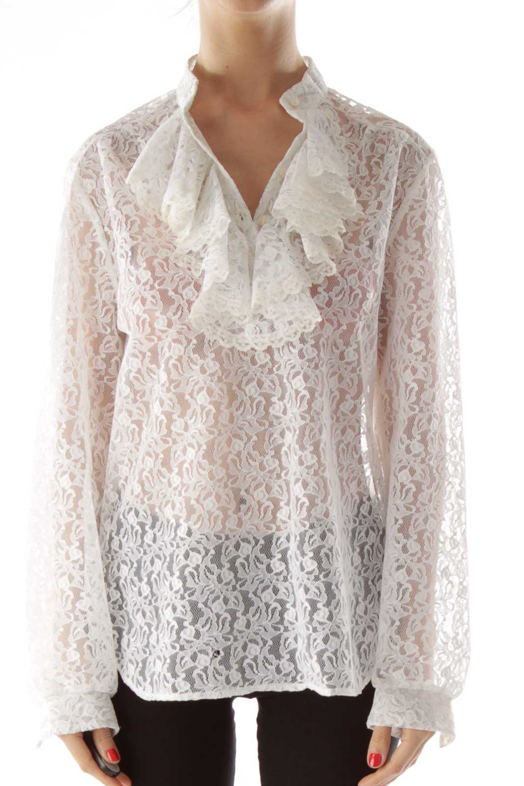 White Ruffled Lace Blouse Front