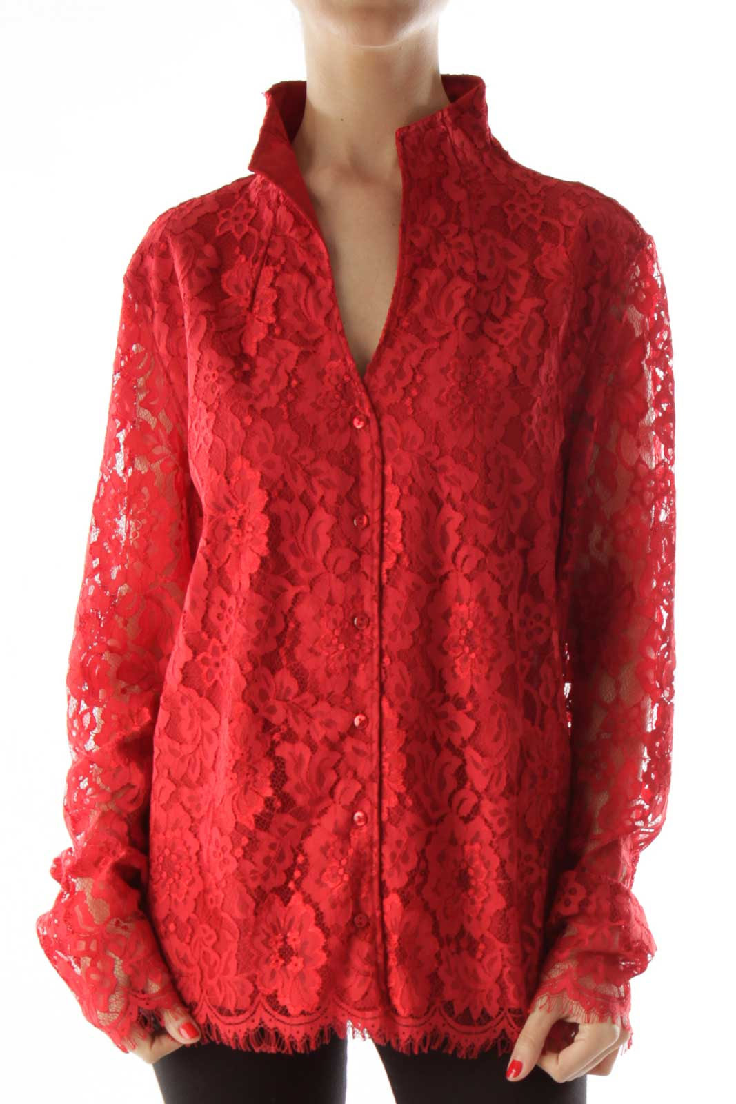 Red Buttoned Laced Blouse Front