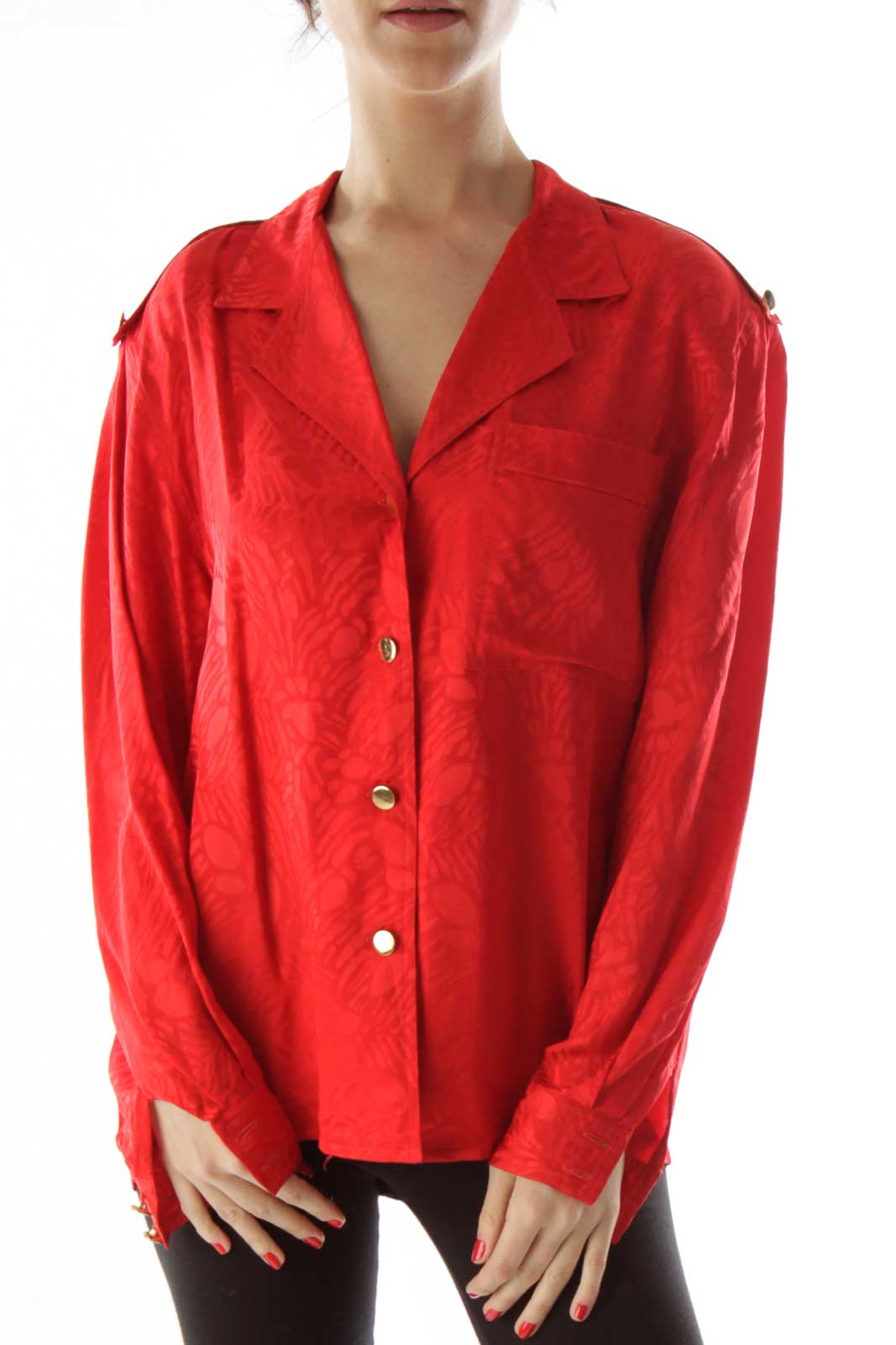 Red Printed Buttoned Blouse Front