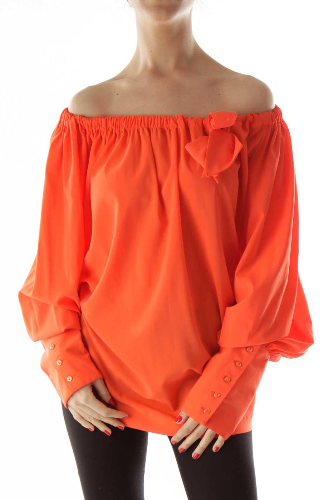 Orange Off the Shoulder Ribboned Blouse Front