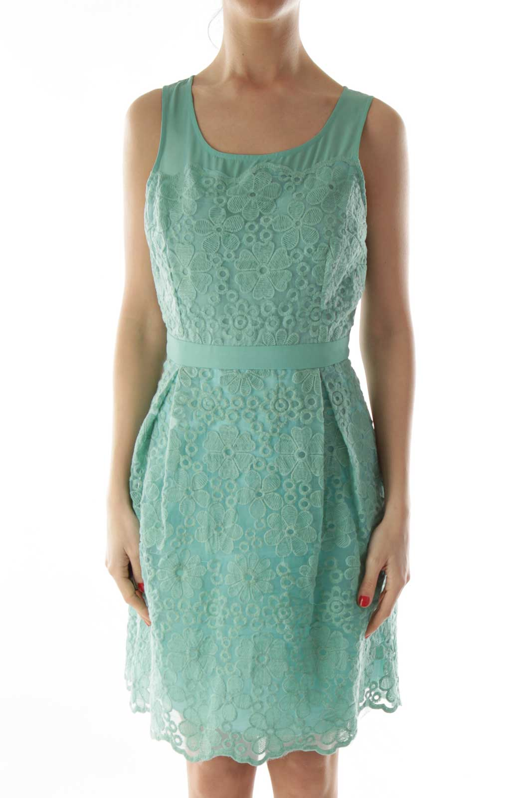 Green Embroidered Flower Layered Dress Front