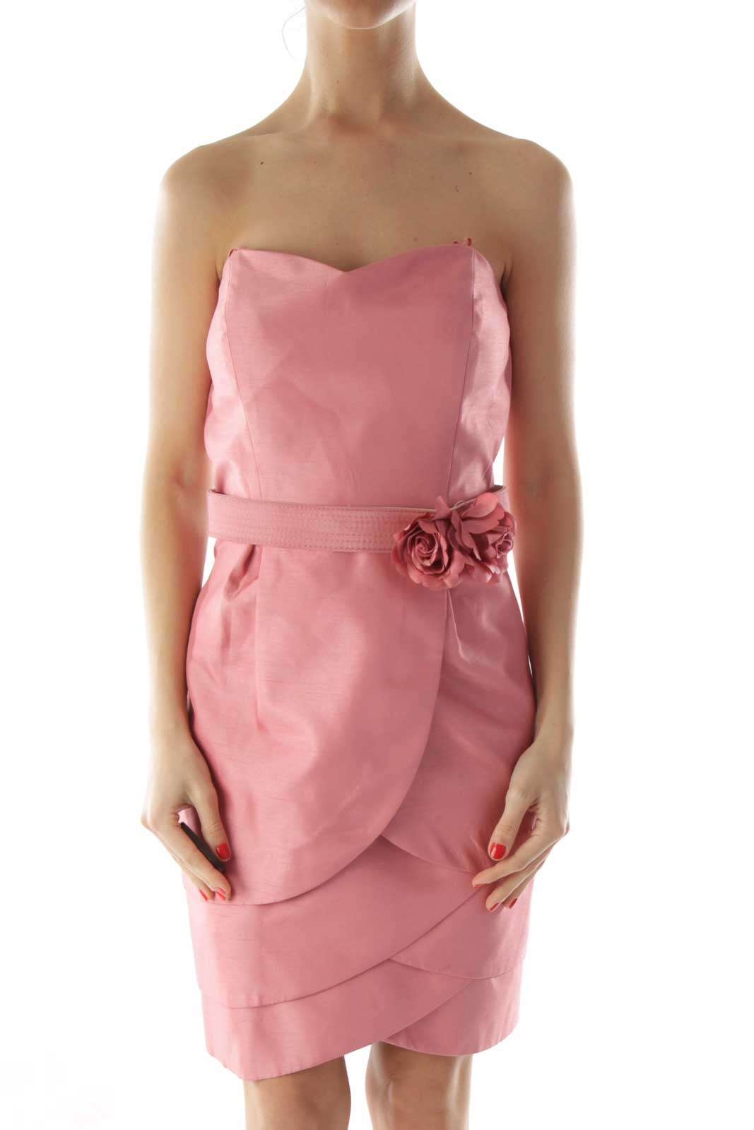 Pink Belted Layered Strapless Dress Front