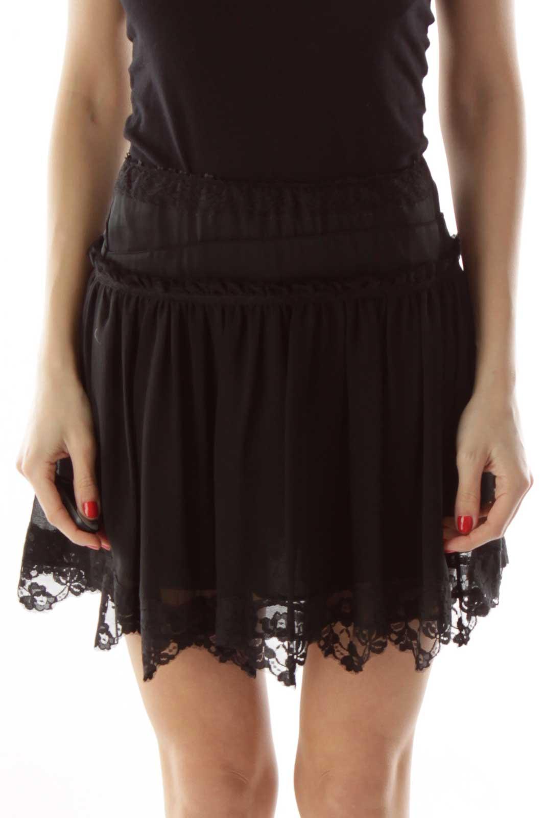Black Silk Lace Mini Skirt Front