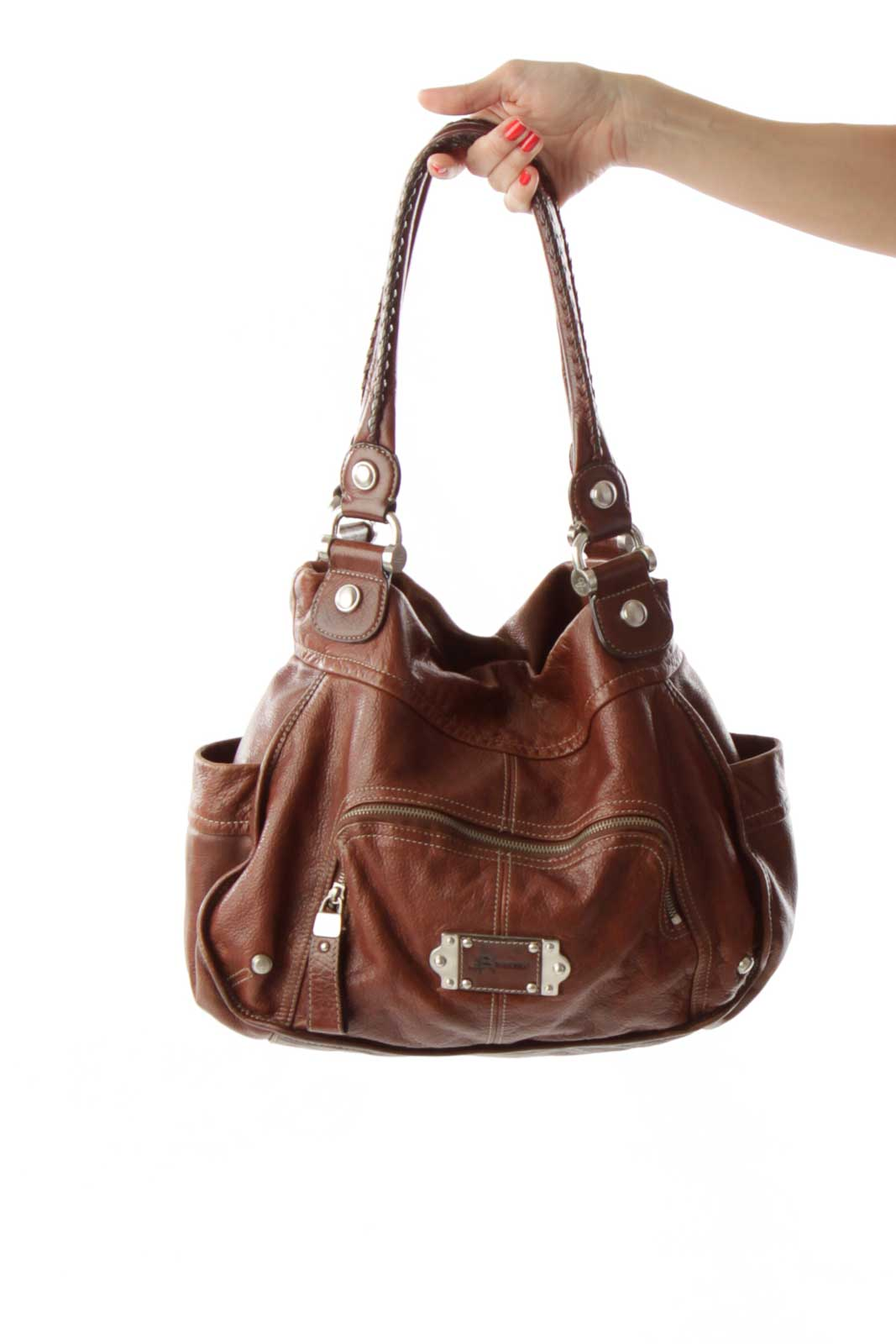 Brown Leather Hobo Bag Front