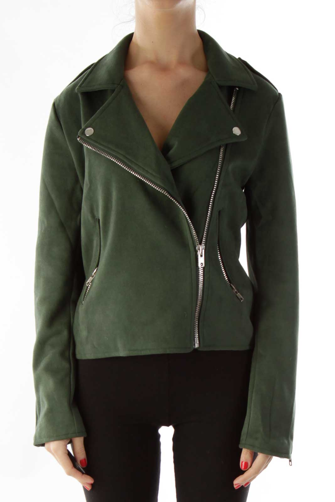 Green Silver Swede Zippered Jacket Front