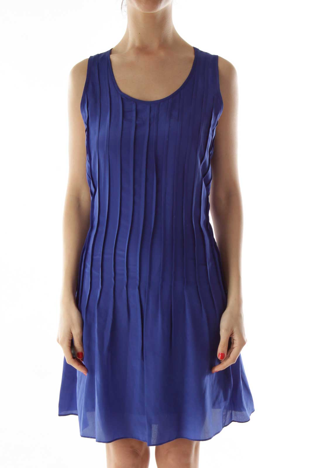 Blue Pleated Silk Day Dress Front