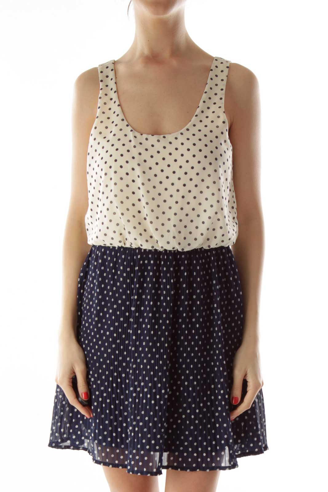 White and Navy Polka-Dot Pleated Dress Front