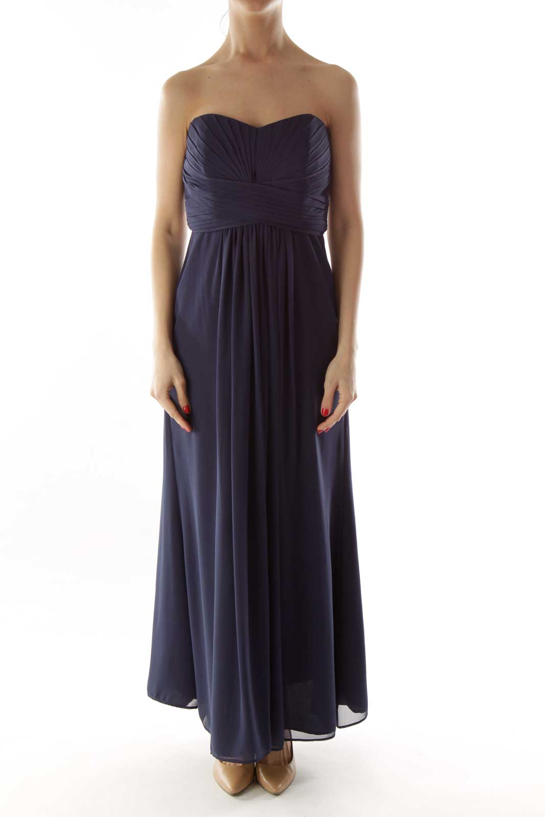 Navy Pleated Strapless Dress Front